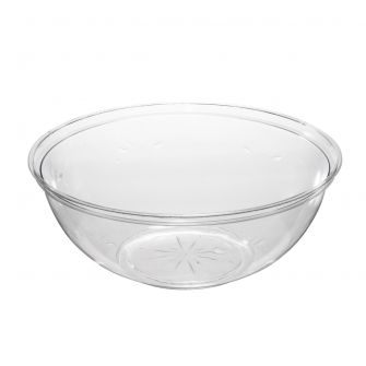 "Embellish 12"" Round Serving Bowl (160 oz.) - Clear Plastic - 24 Count"