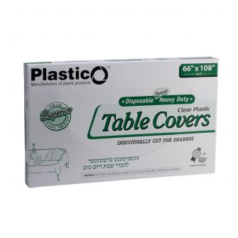 "Plastico Super Heavy Duty Table Covers - 66"" x 108"" - Clear - 16 Count"