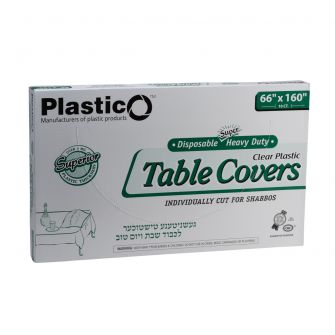 "Plastico Super Heavy Duty Table Covers - 66"" x 160"" - Clear - 10 Count"