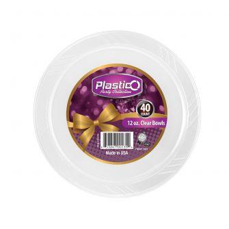 Plastico 12 oz. Bowls - Clear Plastic - 40 Count