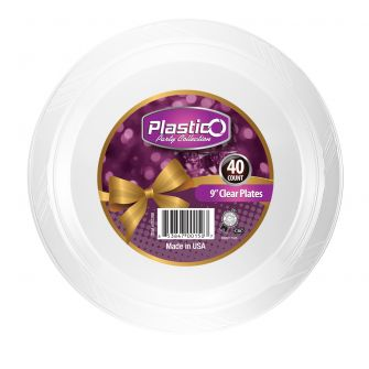 "Plastico 9"" Plates - Clear Plastic - 40 Count"