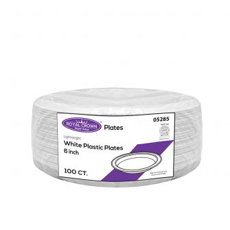 "Royal Crown 6""  White Clear Plastic Plates - 100 Ct."