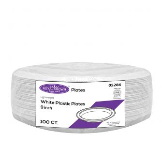 "Royal Crown 9"" White Clear Plastic Plates - 100 Ct."