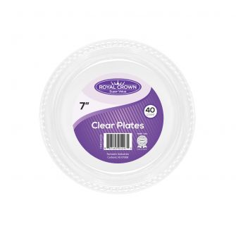 "Royal Crown  7"" Clear Plastic Plates - 40 Ct."