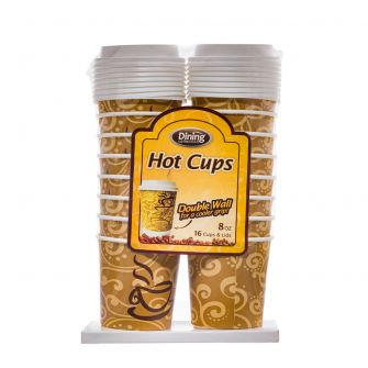 Dining Collection 8 oz. Hot Paper Coffee Cups w/ Lids - 16 Count