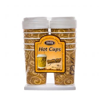 Dining Collection 16 oz. Hot Paper Coffee Cups w/ Lids - 10 Count