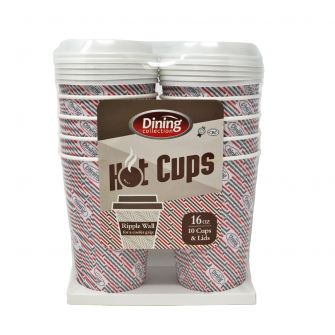 Dining Collection 16 oz. Ripple Wall Paper Hot Cups w/ Lids - 10 Count