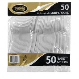 Dining Collection Medium Weight Soupspoons - White Plastic - 50 ct.