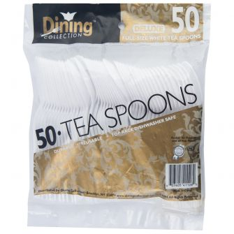 Dining Collection Deluxe Teaspoons - White Plastic - 50 ct.