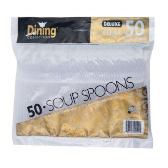 Dining Collection Deluxe Soupspoons - Clear Plastic - 50 ct.