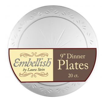 "Embellish 9"" Dinner Plates - Clear Plastic - 20 Count"