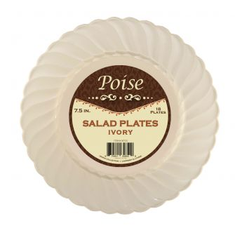 "Poise 7.5"" Salad Plates - Ivory Plastic - 18 Count"