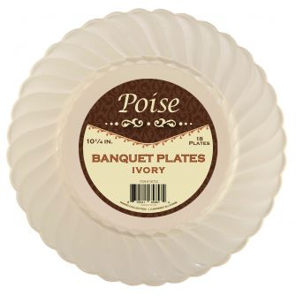 "Poise 10.25"" Banquet Plates - Ivory Plastic - 18 Count"