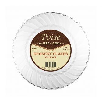 "Poise 6"" Dessert Plates - Clear Plastic - 18 Count"