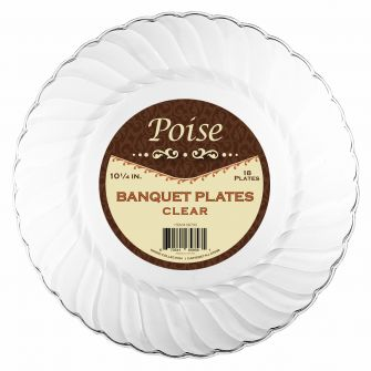 "Poise 10.25"" Banquet Plates - Clear Plastic - 18 Count"