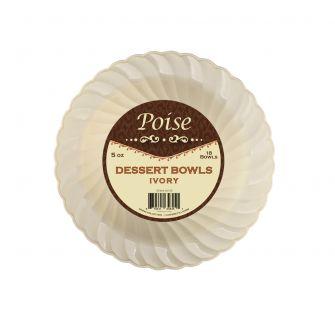 Poise 5 oz. Dessert Bowls - Ivory Plastic - 18 Count