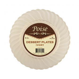 "Poise 6"" Dessert Plates - Ivory Plastic - 18 Count"