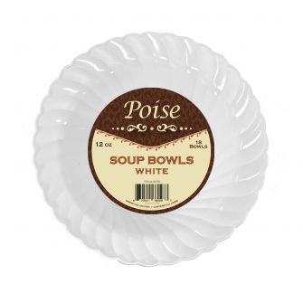 Poise 12 oz. Soup Bowls - White Plastic - 18 Count