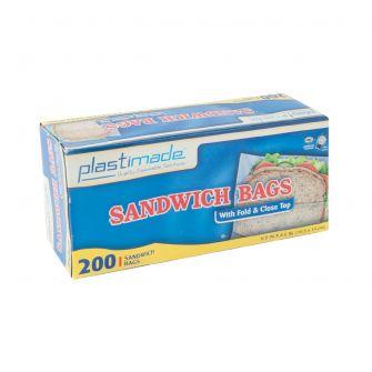 Plastimade Fold & Close Top Sandwich Bags - 200 ct.
