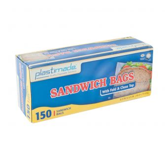 Plastimade Fold & Close Top Sandwich Bags - 150 ct.