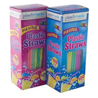 Plastimade Neon Color Flex Straws (ST2500) - 100 Count