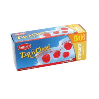 Plastico Zip n' Close Storage Qt. Bags - 50 ct.