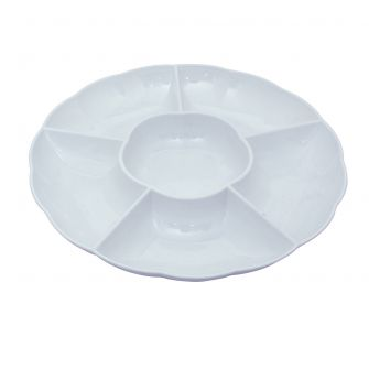 "Dining Collection 12"" Round Compartment Platter - White Plastic - 5 Section"
