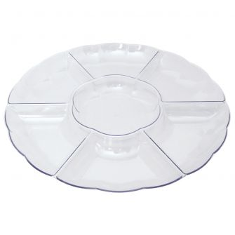 "Dining Collection 16"" Round Compartment Platter - Clear Plastic - 6 Section"