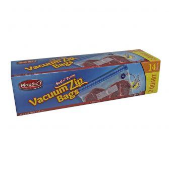 Plastico Vacuum Zip Bags (2 Quart) - 14 Count