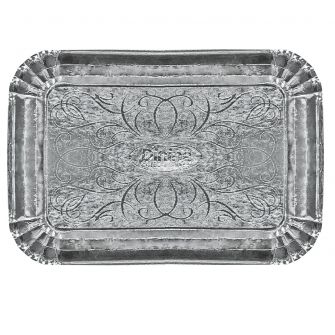 "Dinning Collection 9"" x 13"" Paper Serving Tray - Silver"