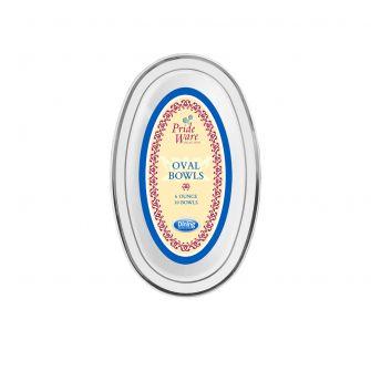 PrideWare 6 oz. Oval Bowls - White/Silver Plastic - 10 Count