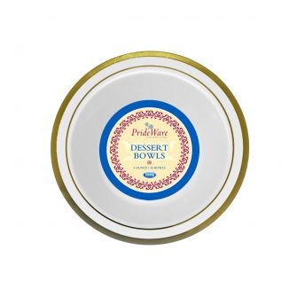 PrideWare 5 oz. Dessert Bowls - Ivory/Gold Plastic - 10 Count