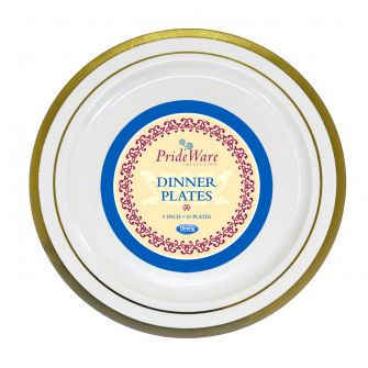 "PrideWare 9"" Dinner Plates - Ivory/Gold Plastic - 10 Count"