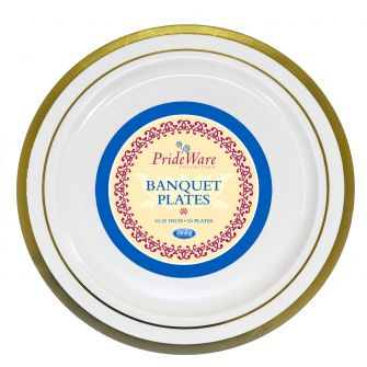"PrideWare 10.25"" Banquet Plates - Ivory/Gold Plastic - 10 Count"