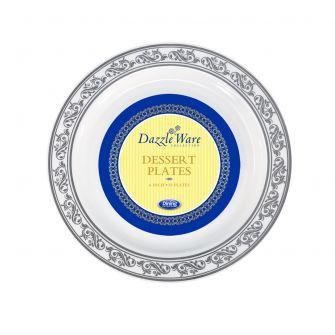 """DazzleWare 6"""" Dessert Plates - White/Silver Plastic - 10 Count"""