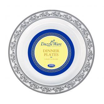 """DazzleWare 9"""" Dinner Plates - White/Silver Plastic - 10 Count"""