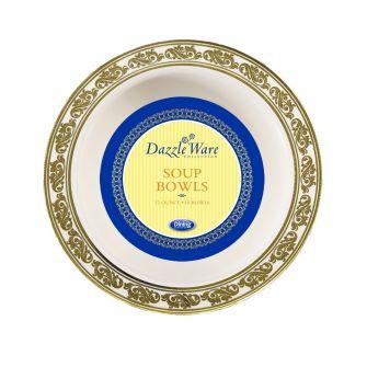 DazzleWare 12 oz. Soup Bowls - Ivory/Gold Plastic - 10 Count