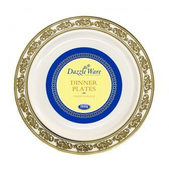 "DazzleWare 9"" Dinner Plates - Ivory/Gold Plastic - 10 Count"