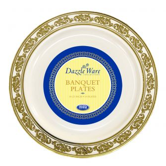 "DazzleWare 10.25"" Banquet Plates - Ivory/Gold Plastic - 10 Count"