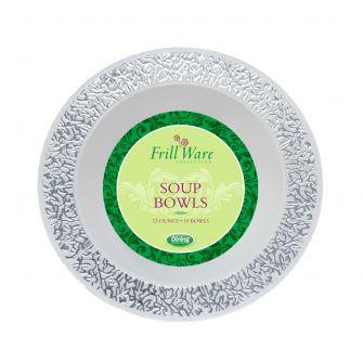 FrillWare 12 oz. Soup Bowls - White/Silver Plastic - 10 Count