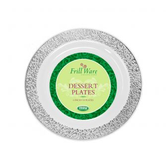 "FrillWare 6"" Dessert Plates - White/Silver Plastic - 10 Count"