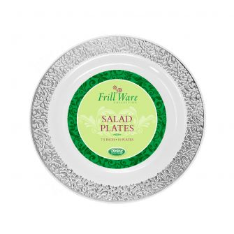 "FrillWare 7.5"" Salad Plates - White/Silver Plastic - 10 Count"