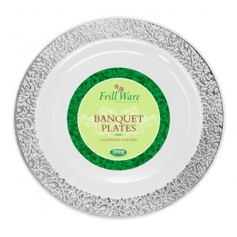 "FrillWare 10.25"" Banquet Plates - White/Silver Plastic - 10 Count"