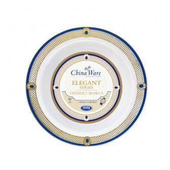 ChinaWare Elegant 5 oz. Dessert Bowls - White/Cobalt/Gold - 10 Ct.