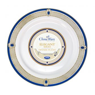 "ChinaWare Elegant 9"" Dinner Plates - White/Cobalt/Gold - 10 Count"