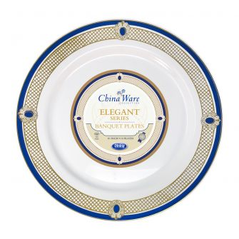 "ChinaWare Elegant 10"" Banquet Plates - White/Cobalt/Gold - 10 Ct."