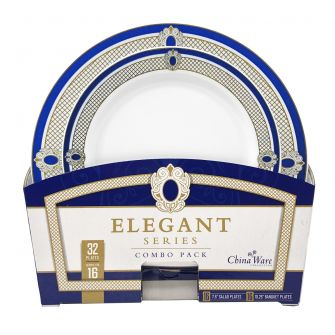 ChinaWare Elegant (Salad & Banquet Plate) Combo Pack – White/Cobalt/Gold