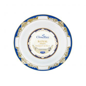 ChinaWare Royal 5 oz. Dessert Bowls - White/Cobalt/Gold - 10 Count