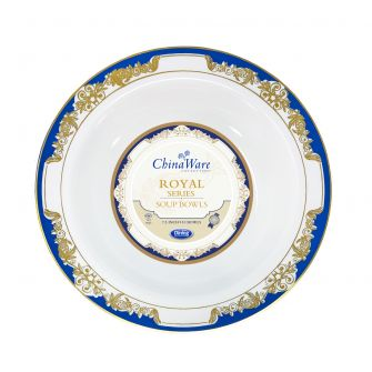 ChinaWare Royal 12 oz.  Salad Bowls - White/Cobalt/Gold - 10 Count