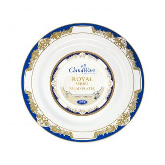 "ChinaWare Royal 7.5"" Salad Plates - White/Cobalt/Gold - 10 Count"